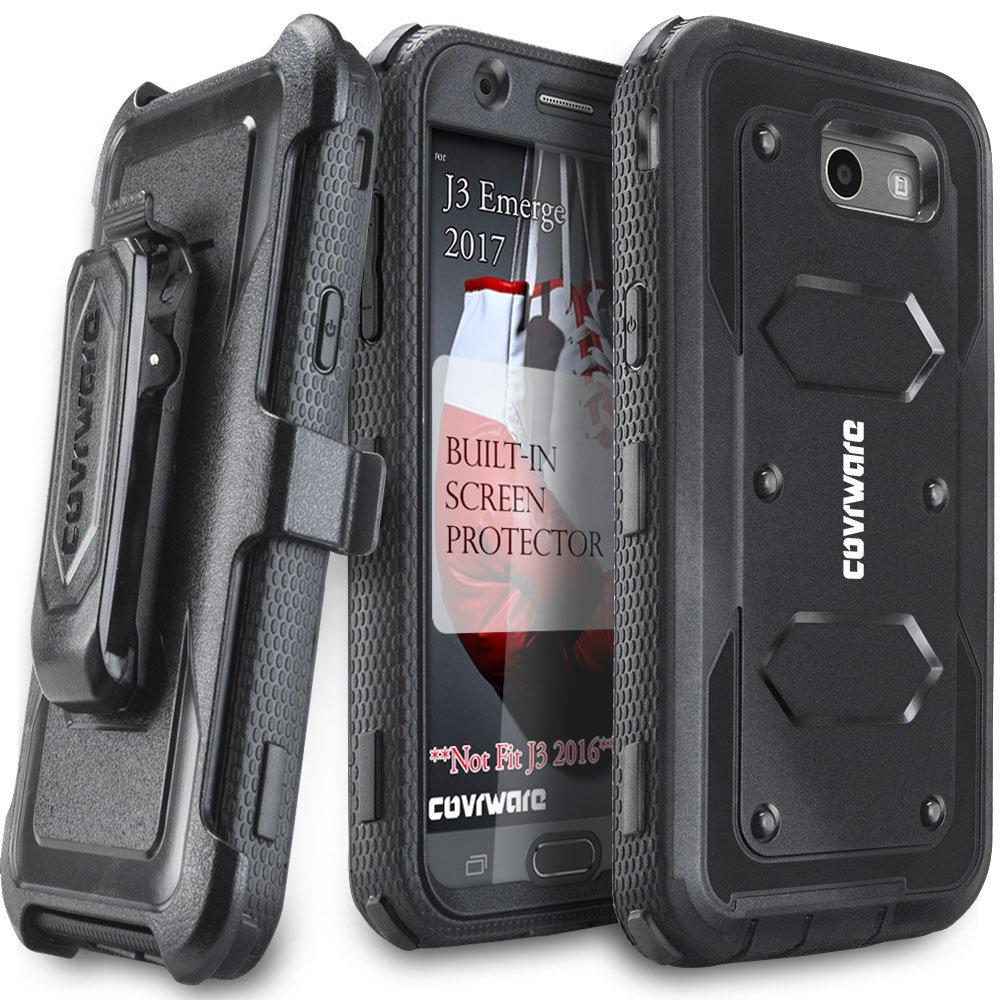 Samsung Galaxy J3 Prime/J3 2017/J3 Emerge/J3 Eclipse/Express Prime 2/Luna Pro/Amp Prime 2/Sol 2 Case,COVRWARE [Aegis] Built-in [Screen Protector] Heavy Duty Rugged Holster [Belt Clip][Kickstand] Black