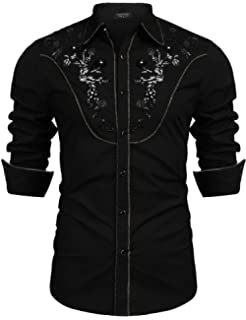 2c718112ec6 COOFANDY Men s Long Sleeve Embroidered Shirt Slim Fit Casual Button ...
