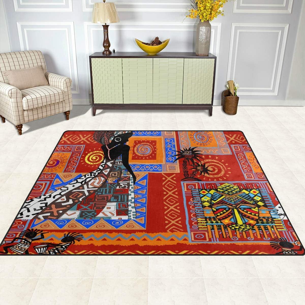 Tribal African Nursery Rug Floor Carpet Yoga Mat Naanle Traditional Africa Non Slip Area Rug for Living Dinning Room Bedroom Kitchen 50 x 80 cm 1.7 x 2.6 ft