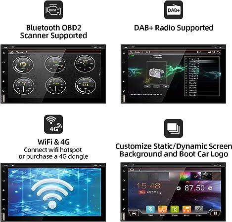 2 Din Android 9.0 Autoradio Car Stereo GPS de navegación Auto Radio | LIBRE Cámara trasera | Soporte WLAN Mirror-Link DAB+ SD USB 4G Google Mandos del volante ...