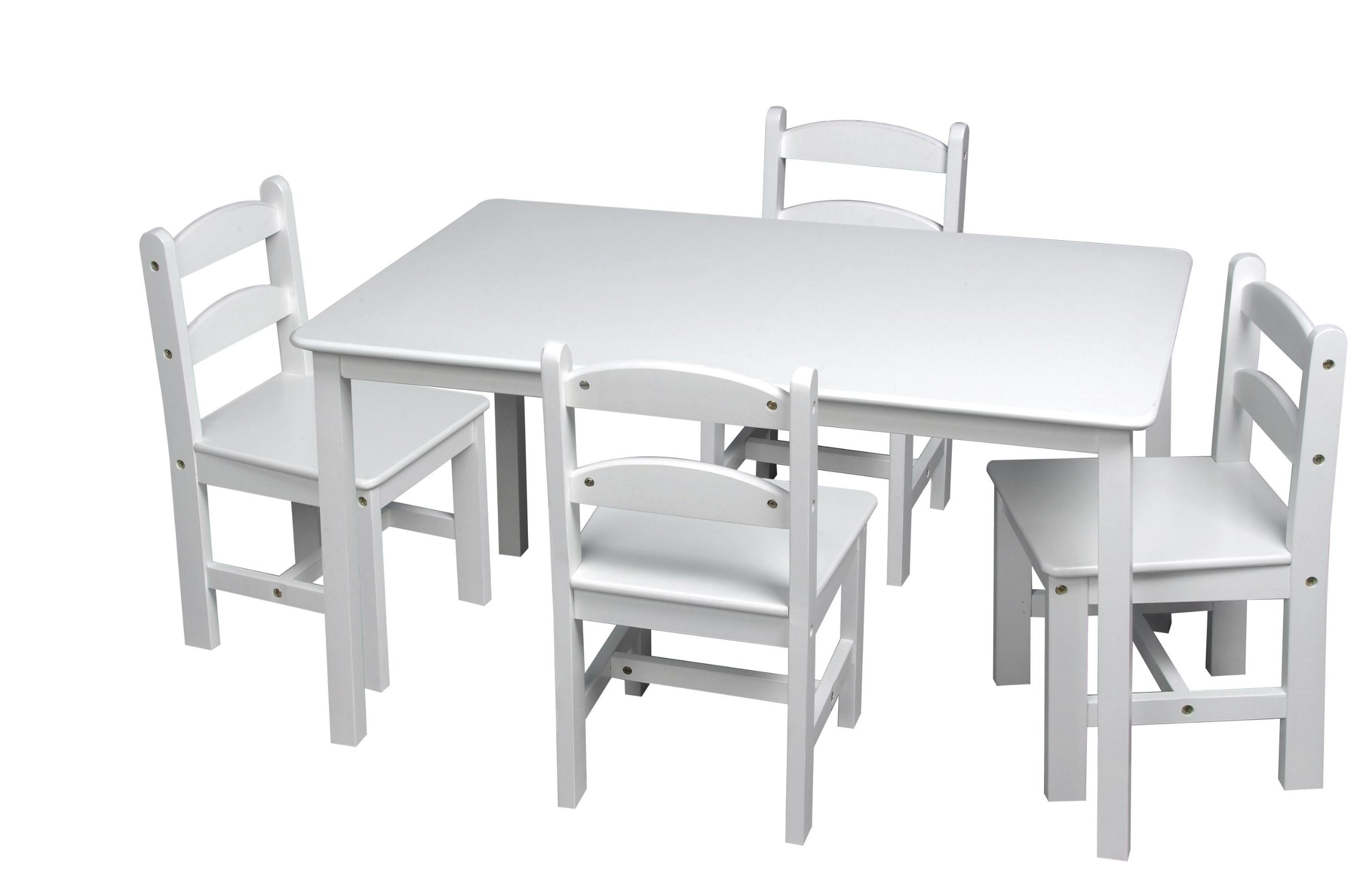 Gift Mark Rectangle Table Set with 4 Chairs, White