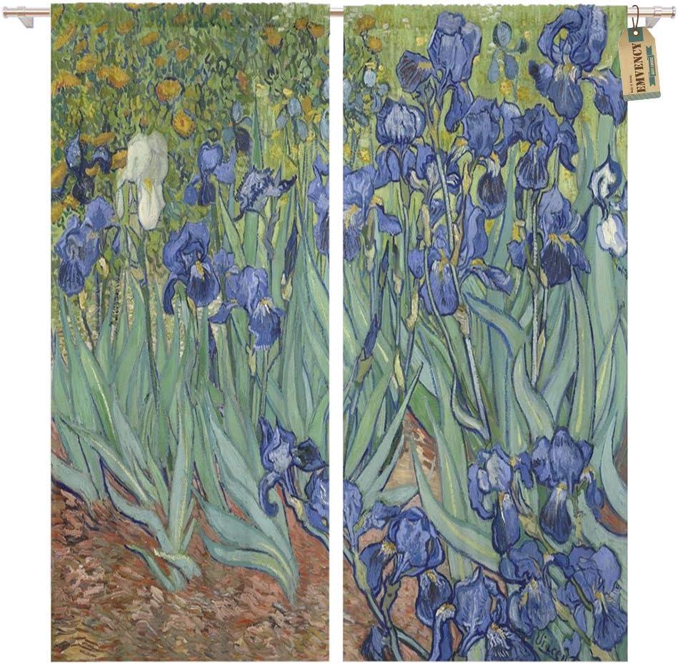 Golee Window Curtain Irises by Vincent Van Gogh 1889 Dutch Post Impressionist Home Decor Pocket Drapes 2 Panels Curtain 104 x 84 inches