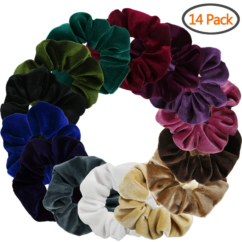 BETITETO 14 Pack Velvet Hair Scrunchies Elegant Bobble Hair Elastics Soft Ponytail Holders Hair Bands Ties for Women Girls