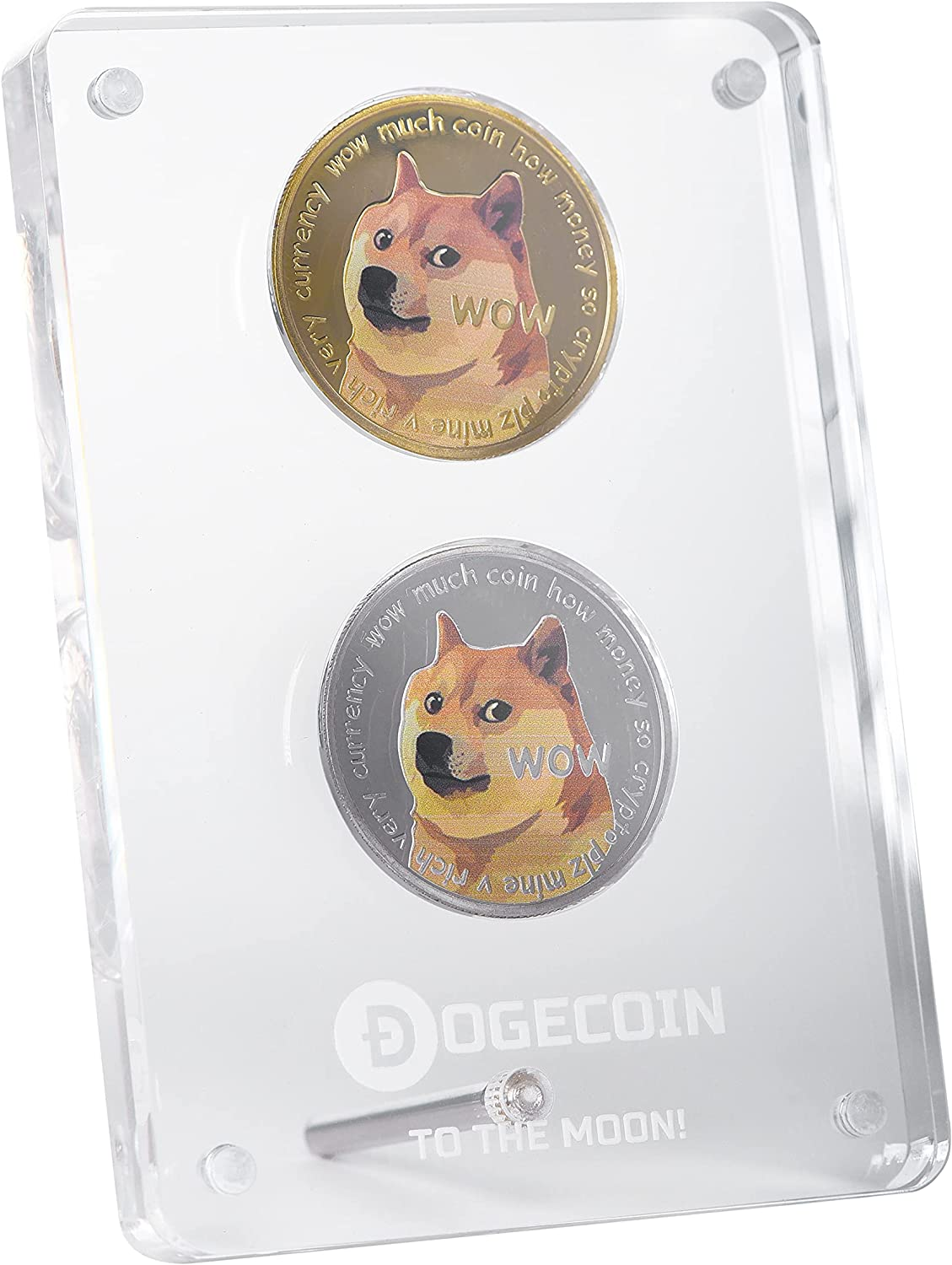 Tapeera Physical Dogecoin Coin with Acrylic Magnetic Display Case - Silver and Gold Plated Cryptocurrency Coins - Shiba Inu Dog - Doge Coin Token to The Moon - Commemorative Crypto Coins Gifts (2 Pcs)