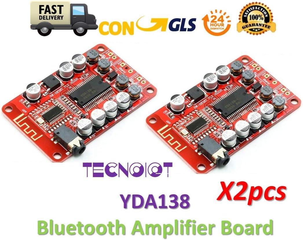 TECNOIOT 2pcs YDA138 Bluetooth Amplifier Board Module 2.0 Stereo Class D 2 * 15W DC 12V 2A