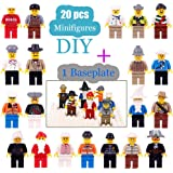 Aillystar Minifigures Set - 20 Lego Figures Minifigures Toys Building Bricks Compatible Family Figures Mini People -Included Baseplate Bonus