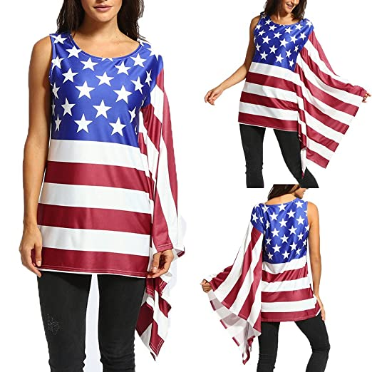 e3bcc9b2cfe Makaor Fashion Women Plus Size American Flag Ruffles Bowknot Patriotic Tank  Tops Blouse (Multicolor