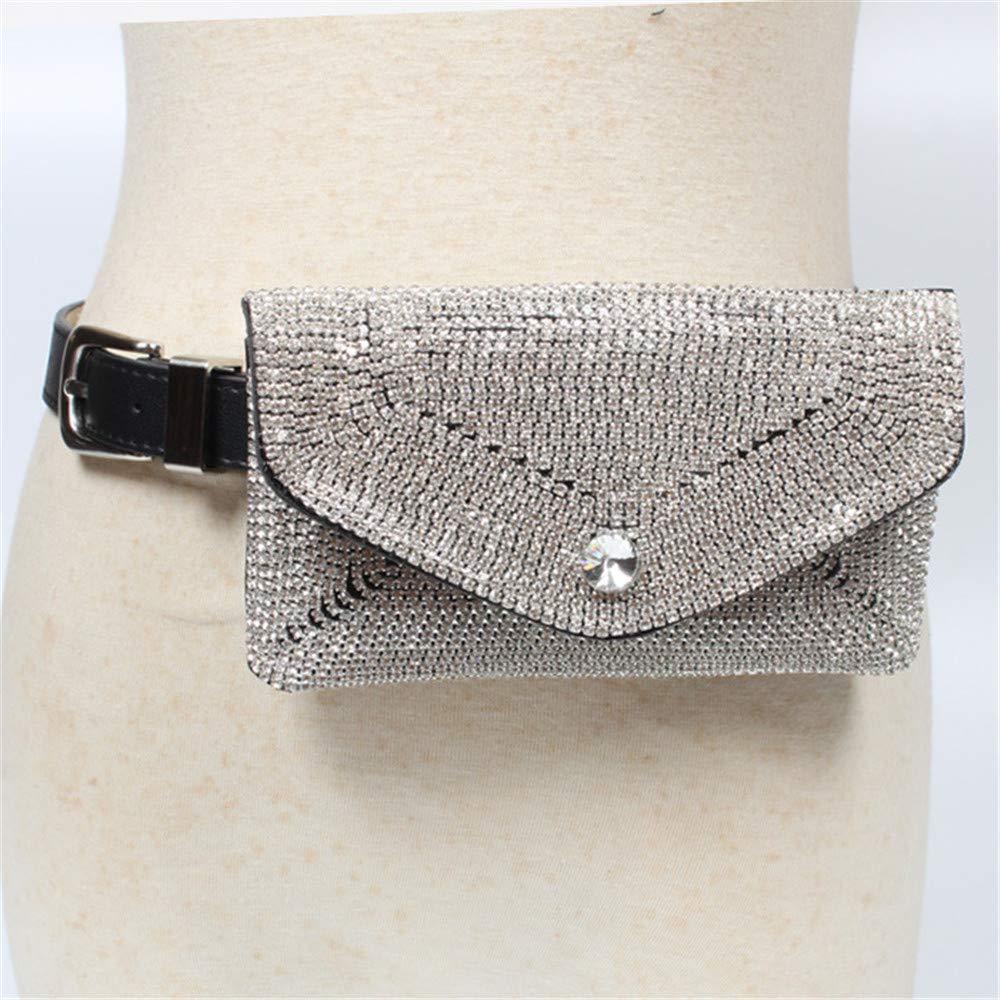 Elegant Belt Women Waist Bag Belt Bag Shiny Rhinestones Mesh Bowknot PU Leather Fanny Pack Removable Belt with Waist Pouch Mini Purse Wallet Travel Cell Phone Bag Simple Ladies Belt