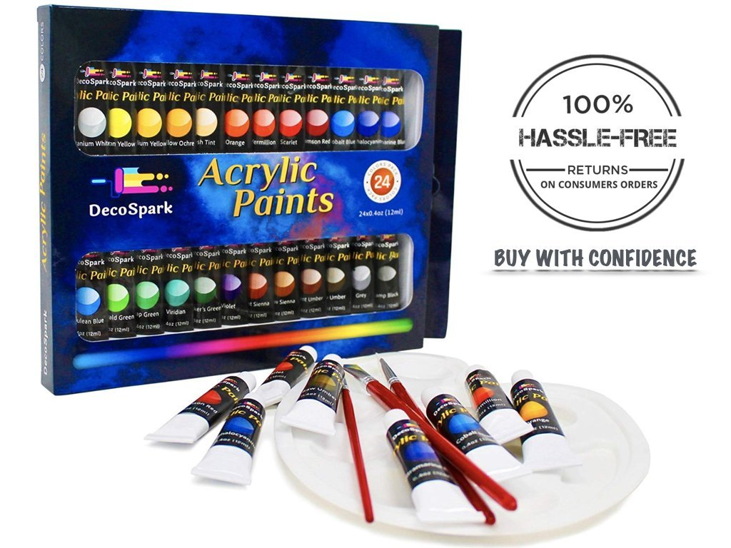 Acrylic Paint Set - 24 X 12ml Tubes, 3 Free Brushes And Palette   Rich Pigment, Non-Toxic   Painting on Canvas, Wood, Ceramic, Fabric   Perfect Paints For Kids, Beginners And Professionals   Decospark