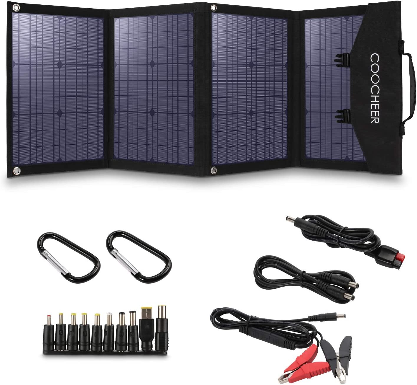 COOCHEER Solar Panel 120W, Portable Solar Panel Charger for Portable Generator/Power Station/USB Devices/Cars/Yacht with 2 USB Ports & 1 DV Port, Suitable for Camping Van