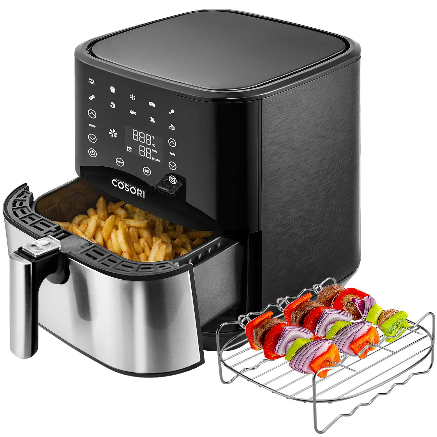COSORI Stainless Steel Air Fryer (100 Recipes, Rack & 5 Skewers), 5.8Qt Large Air Fryers XL Oven Oilless Cooker, Preheat/Alarm Reminder, 9 Presets, Nonstick Basket, 2-Year Warranty, ETL/UL Listed by COSORI