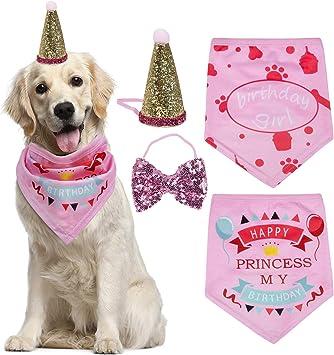 Amazon.com: Petsvv - Paquete de 4 pañuelos de cumpleaños ...