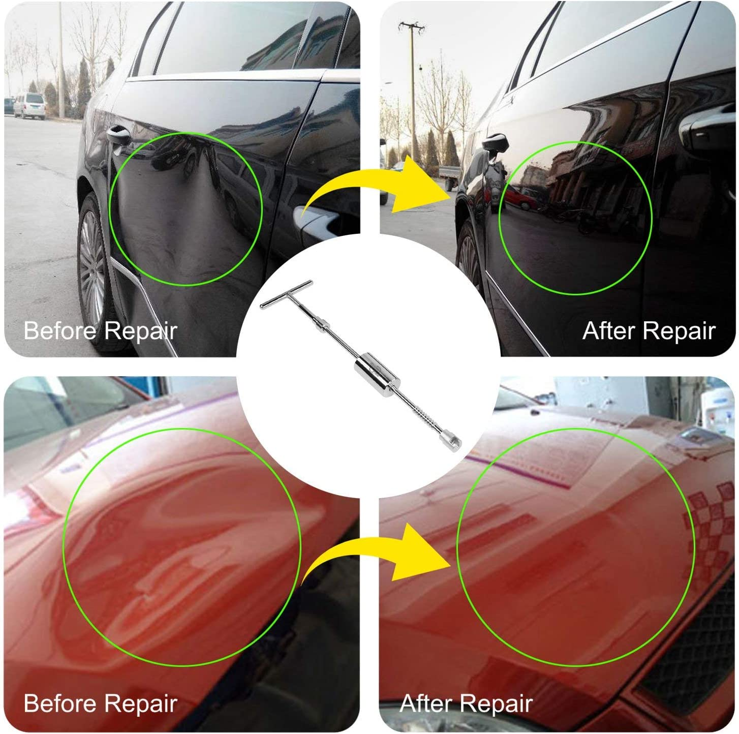 AUTOPDR Dent Repair Tools Big Dent Dent Repair kit with Bridge Dent Puller Small-Middle Dent Paintless Dent Repair Kits 69pcs Dent Repair Tool 2 in 1 T-Puller for Car Body Hail Dent Removal Dent Remover Automobile Body Repair