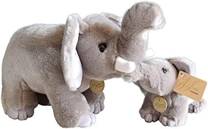 Amazon Com Miyoni Aurora World Stuffed Elephant Mom Baby Set Of 16 Inch And 9 Inch Plush Toys Games