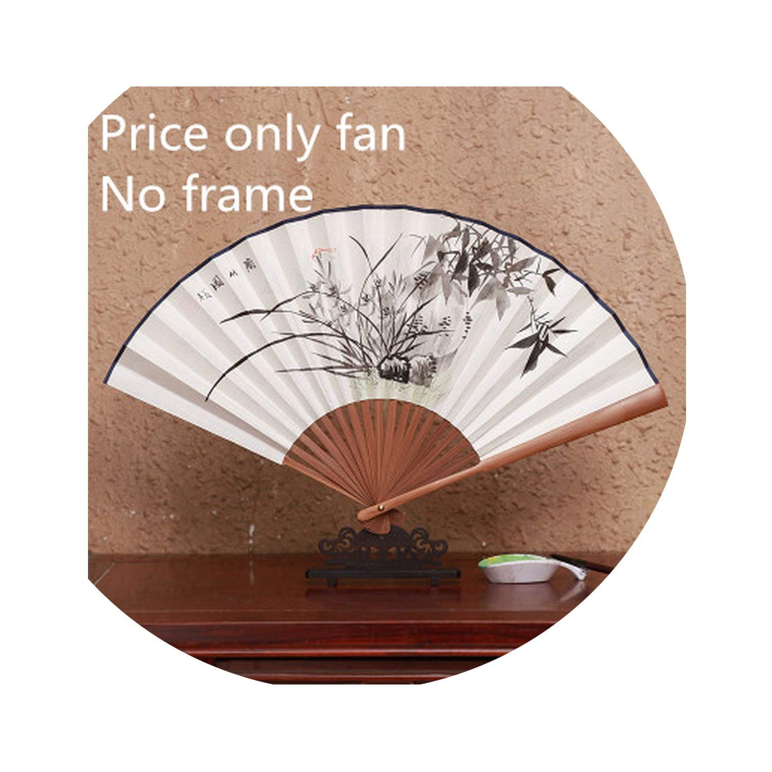 Tiwcer Hand Painted White Hand Fans Chinese Folding Fan Painting Rice Paper Hand Fan Wedding Decoration Gift 8'',Orchid Bamboo,8 Inches