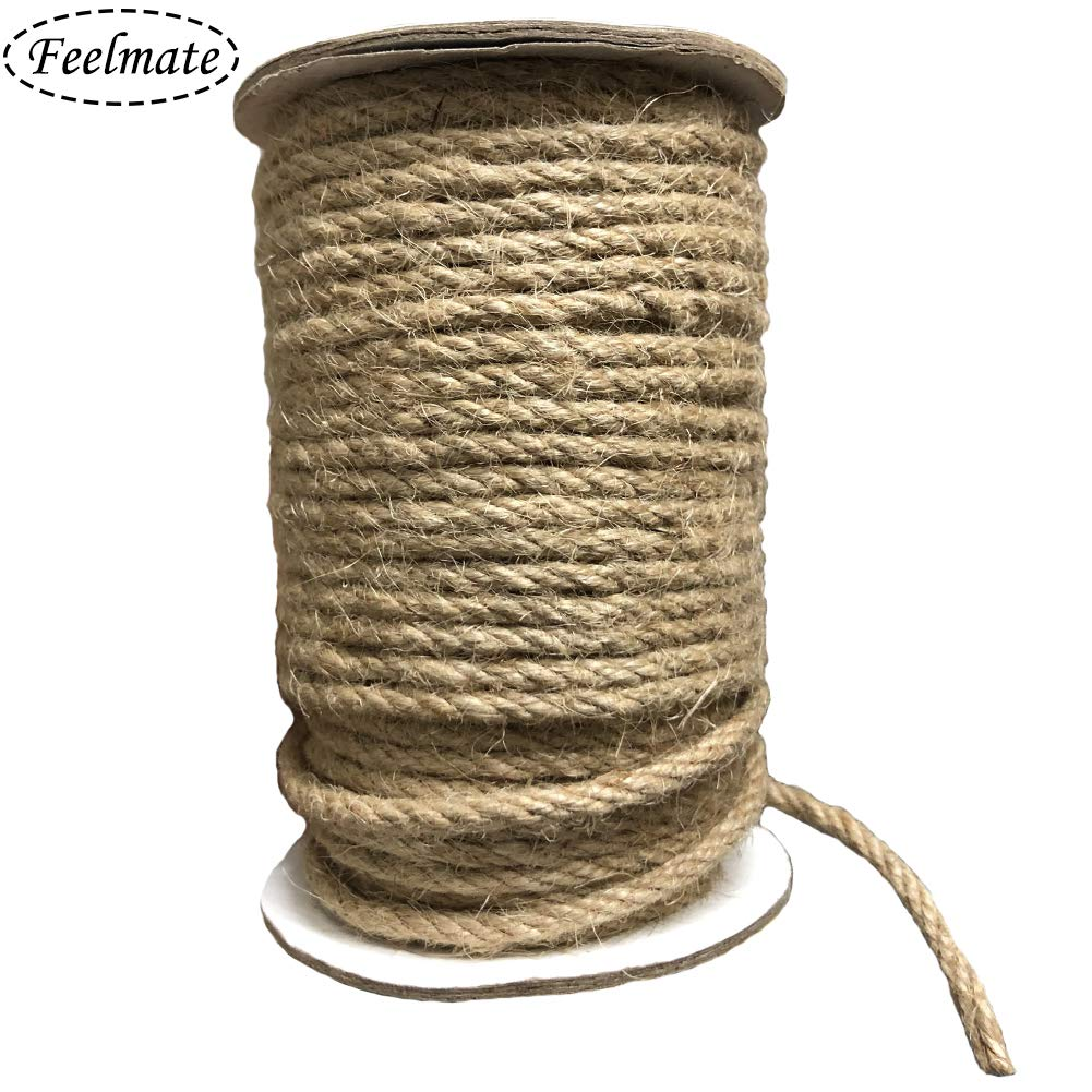 Feelmate 164Feet 4mm Natural Jute Rope Burlap Twine for Gardening, Hemp Cord DIY Arts & Crafts, Home Decor, Gift Wrapping by Feelmate