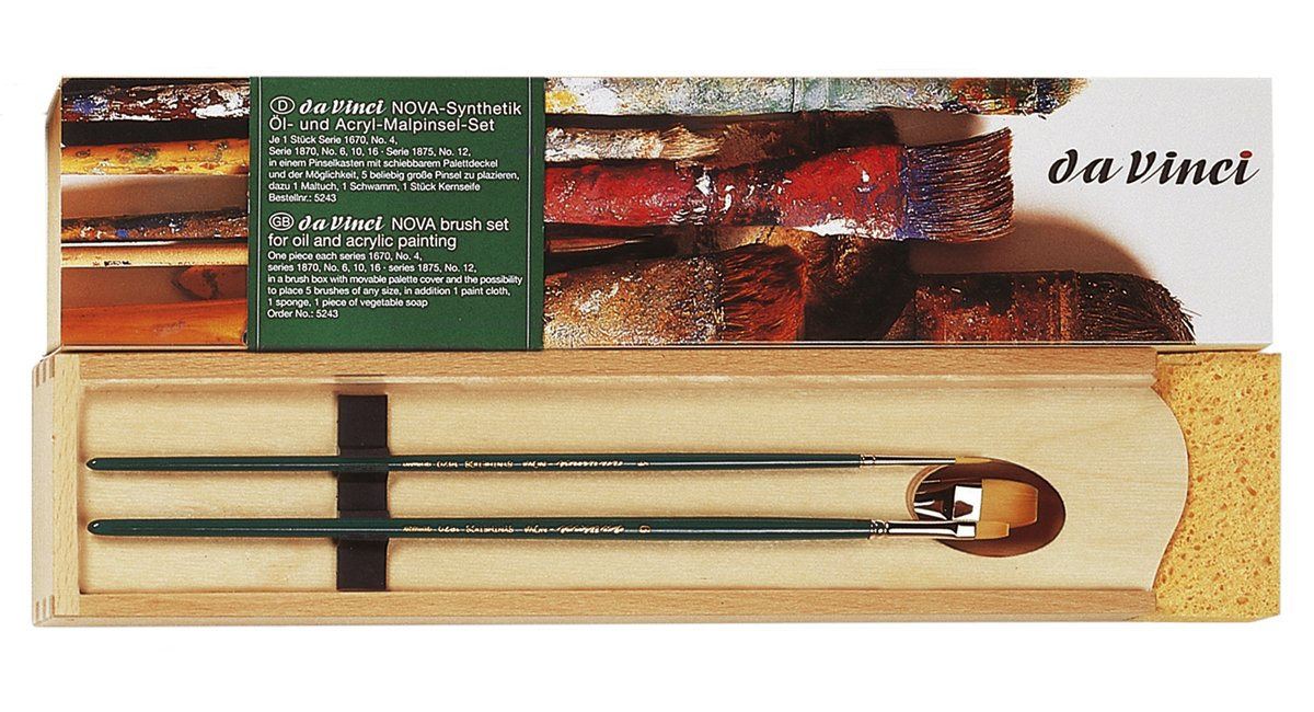 da Vinci Oil & Acrylic Series 5243 Nova Synthetic Paint Brush Set with Wood Mixing Palette, Multiple Sizes, 5 Brushes (Series 1670, 1870, 1875)