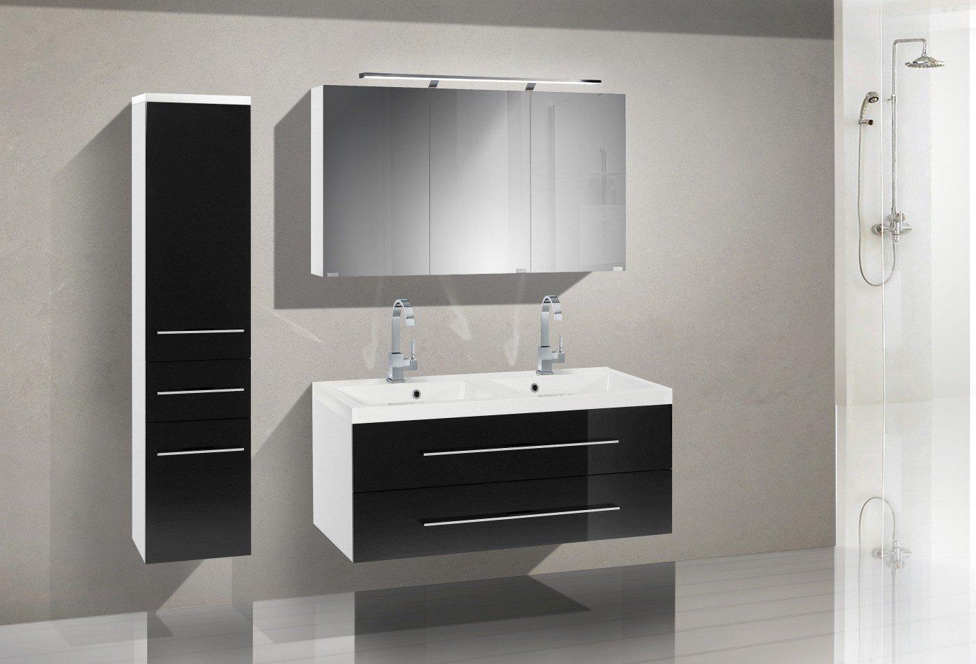 Badezimmermöbel Set mit Waschbecken und Spiegelschank 120 cm