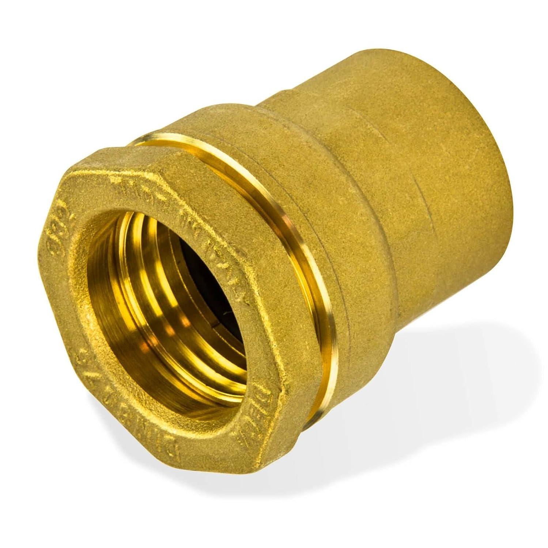 Caleffi 860525 Messing PE Verschraubung 25 mm x 3/4 Zoll Innengewinde Klemmverbinder fü r PE Rohr Kunststoffrohr Stabilo-Sanitaer
