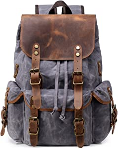 Kemy's Mens Waxed Canvas Backpack Leather Rucksack for Men Wax Leather Backpacks Travel Vintage Bookbag with Laptop Compartment Rustic Large Waterproof Grey Easter Gifts
