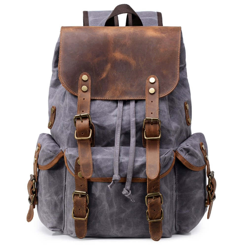 Kemy's Mens Waxed Canvas Backpack Leather Rucksack for Men Wax Leather Backpacks Travel Vintage Bookbag with Laptop Compartment Rustic Large Waterproof Grey Easter Gifts by Kemy's