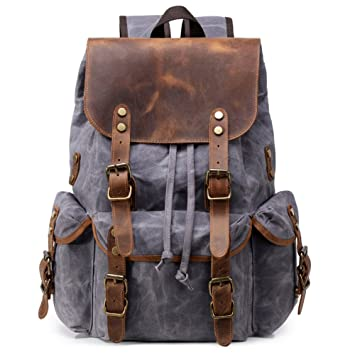 2be350474a3d Kemy s Mens Waxed Canvas Backpack Leather Rucksack for Men Wax Leather  Backpacks Travel Vintage Bookbag with
