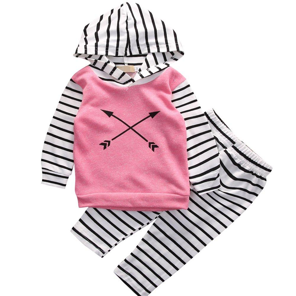 Baby Girl Arrow Pattern Pink Hoodies+Striped Long Pants 2pcs Pants Outfit Set