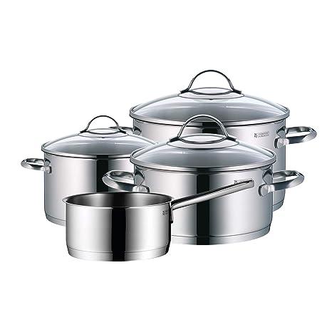 WMF Provence Plus - Batería de Cocina de 4 Piezas, Acero Inoxidable Cromargan, Tapas de Cristal, Apta para Todo Tipo de Cocinas