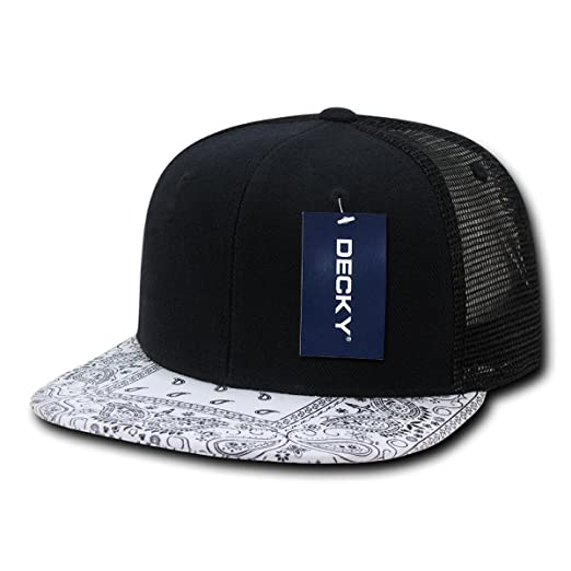 440733af363 DECKY 6-Panel Bandanna Trucker Cap Black White One Size at Amazon ...
