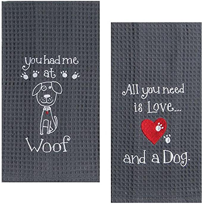 Kay Dee Dog Lover Embroidered Waffle Towel Set