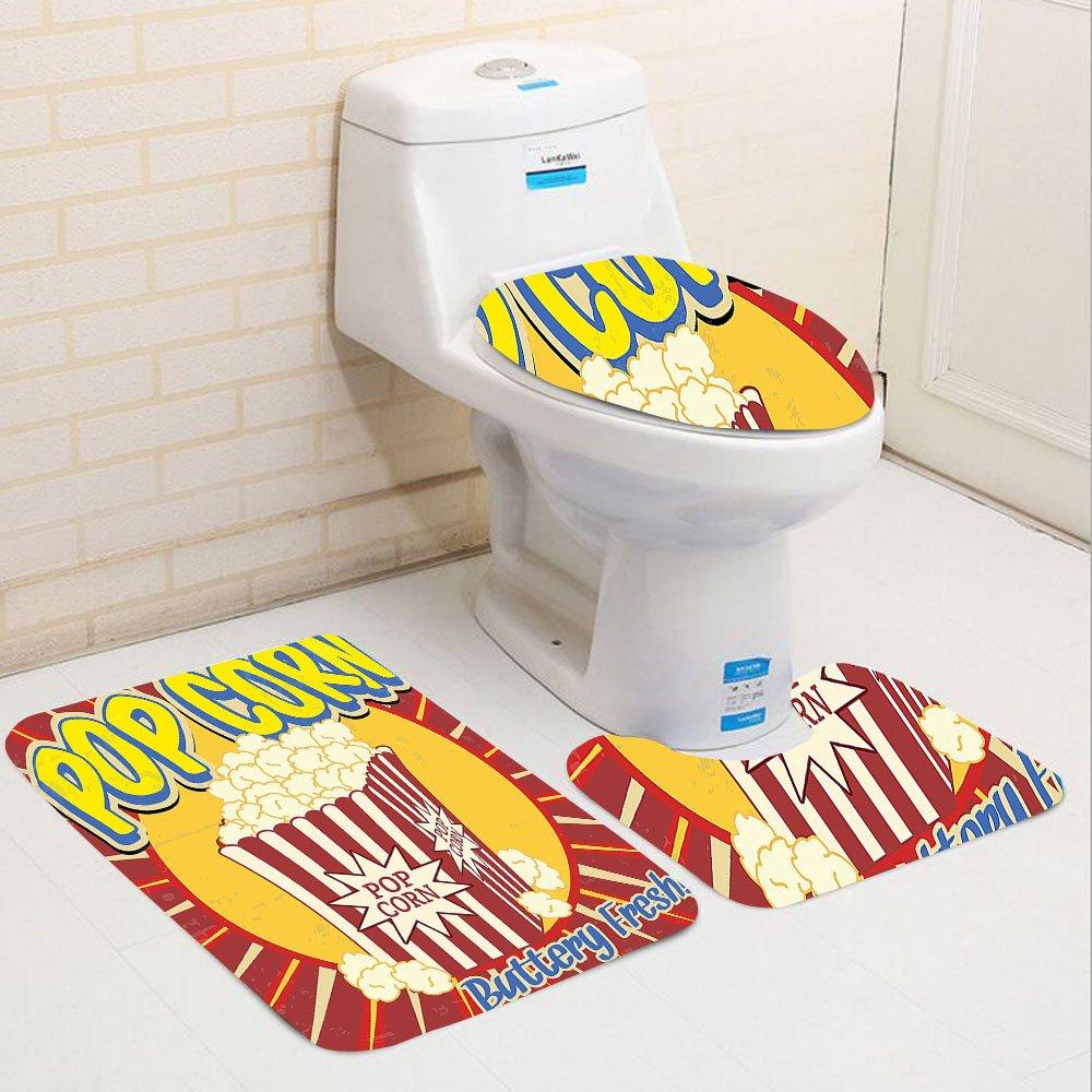 Keshia Dwete three-piece toilet seat pad custom1950s Vintage Grunge Style Pop Corn Commercial Print Old Fashioned Cinema Movie Film Snack Artsy Work Multi