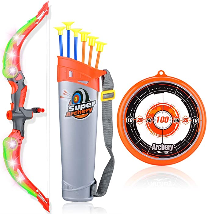 MagicWe Bow and Arrow Toy Set for Kids with LED Flash Lights Archery Bow with 6 Suction Cups Arrows Target Indoor Outdoor Toys Garden Practice Hunting Game Boys Girls Age 3 Years and Up (Green)
