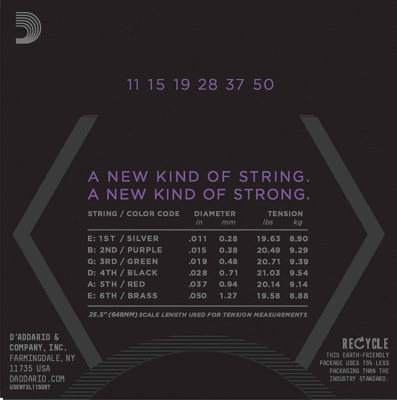 D Addario nyxl1150bt níquel Wound Cuerdas para guitarra eléctrica, tensión equilibrada Medium: Amazon.es: Instrumentos musicales
