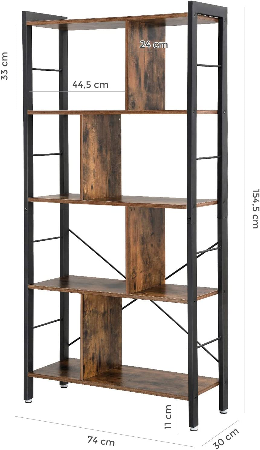 Industrial Bookcase Rustic Brown LBC12BX Floor Standing Bookcase VASAGLE Bookshelf Large 4-Tier Storage Rack in Living Room Office Study Simple Assembly Engineered Wood and Stable Iron Frame