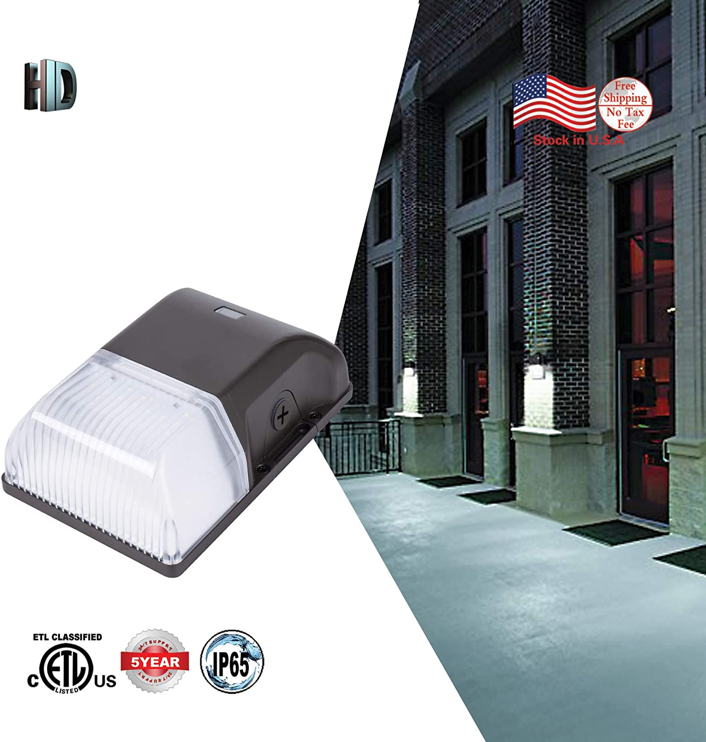 LED Wall Pack Light,15W 1950Lumens,5000K with Photocell Sensor Dusk to Dawn Waterproof IP65 Outdoor Security Light,ETL Listed,5 Years Warranty(1 Pack)