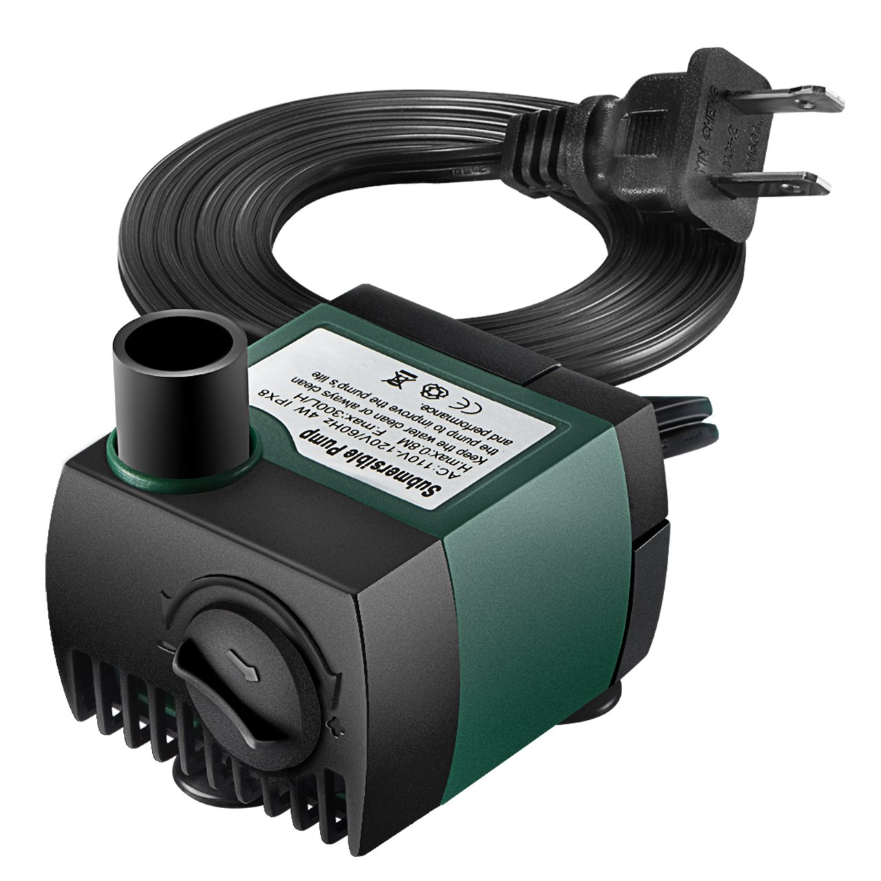 VicTsing 79.25GPH(300L/H) Submersible Water Pump Withstands 48hrs Dry Burning, Detachable , Cleanable Water Pump with 5.6Ft (1.7M) Power Cord for Aquarium, Pond, Fish Tank, Statuary Water Pump Hydroponics, No Noise USAA4-VTGEGD046ABUS-VD