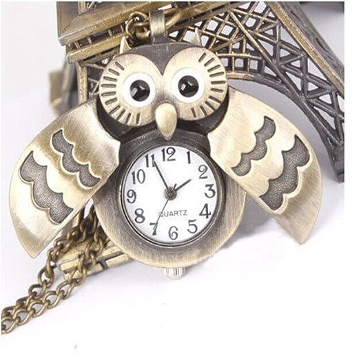 Housweety lovely bronze owl pocket clock watch pendant necklace housweety lovely bronze owl pocket clock watch pendant necklace with chain quartz watch gift idea aloadofball Gallery