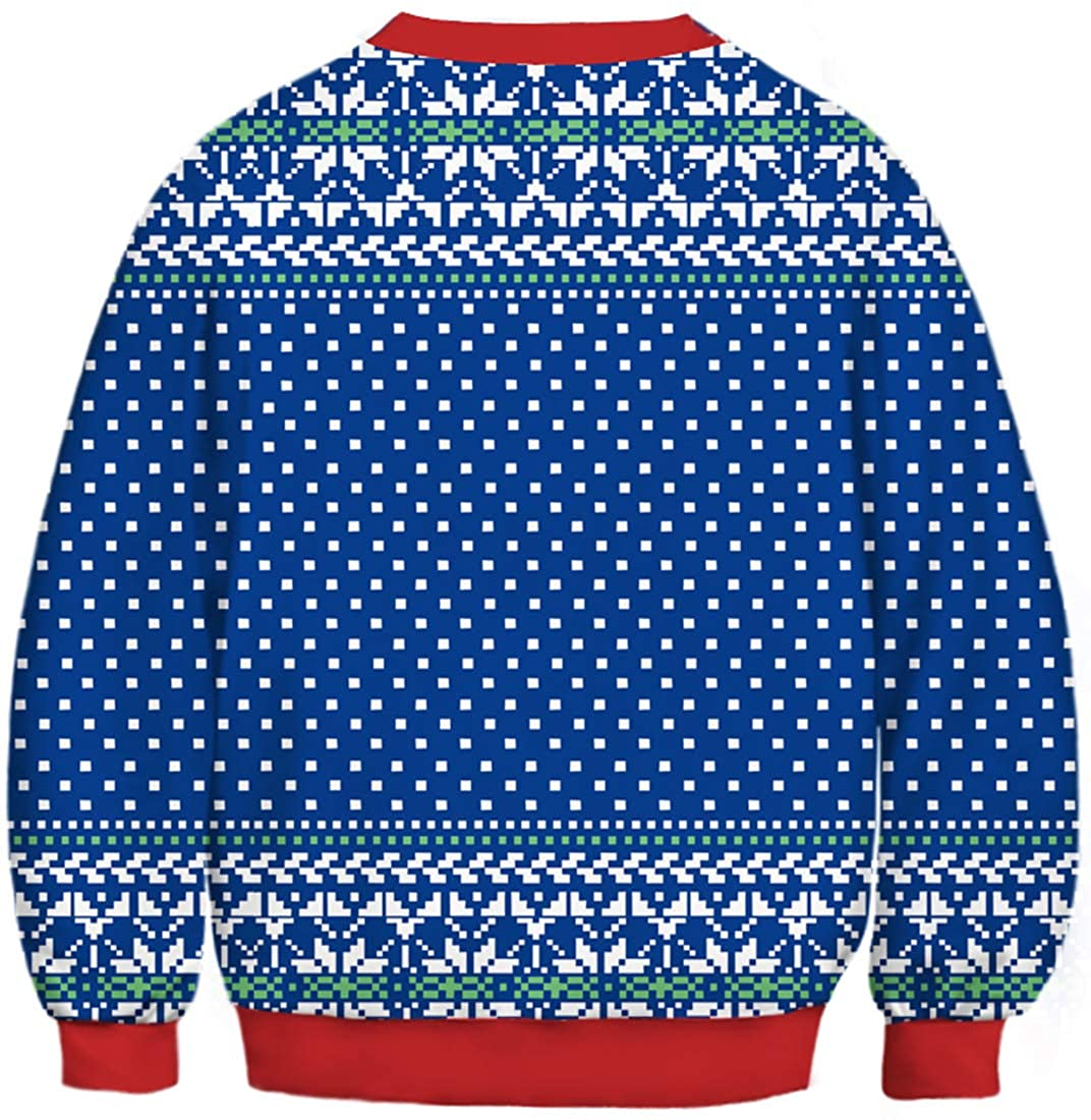 Imilan Girls Novelty Sweatshirt Ugly Christmas 3D Cat Unicorn Starry Printed Pullover O-Neck Sweater Unisex