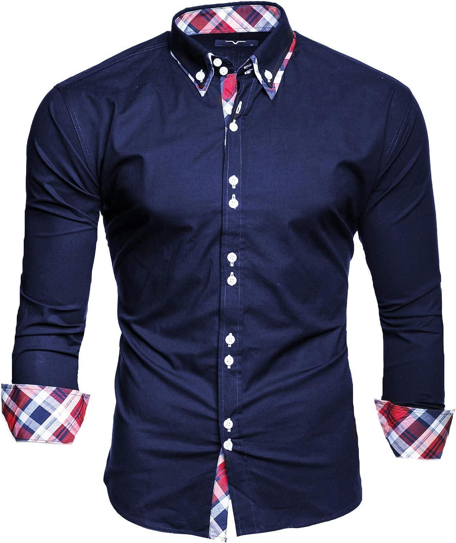 Modello Musteraermel Kayhan Originale Uomo Camicia Slim Fit Facile Stiro Cotone Maniche Lungo S M L XL XXL 2XL