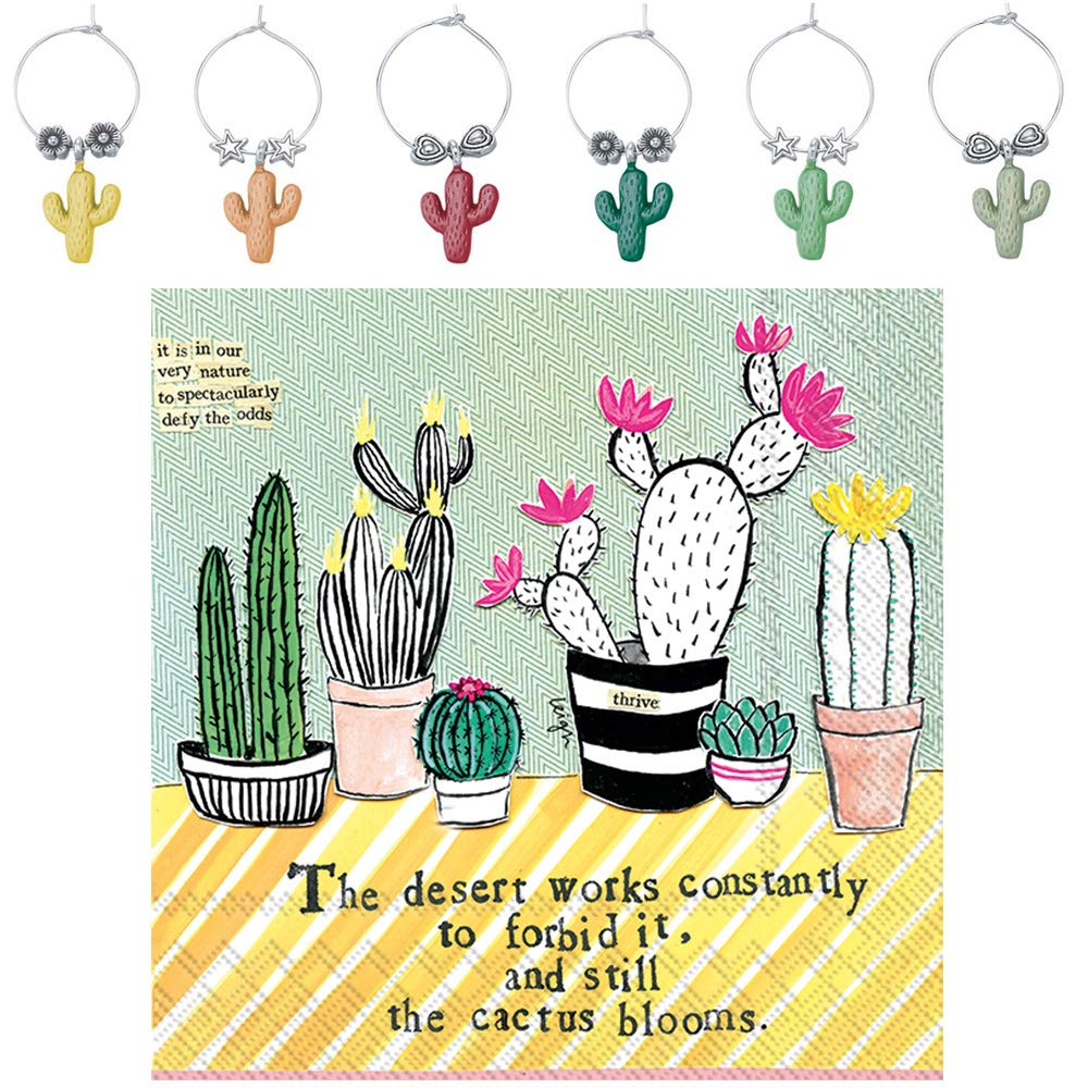 Cactus Succulent Wine Charms and Cactus Cocktail Napkins Set - Includes 6 Metal Wine Markers and 20 Paper Beverage Napkins