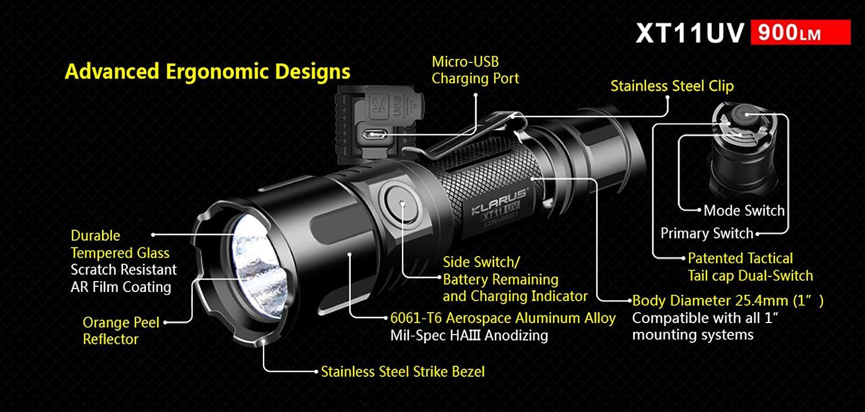Klarus XT11UV Rechargeable Flashlight White and UV Light 900 Lumen LED Bundle with a Lumintrail USB Wall Adapter