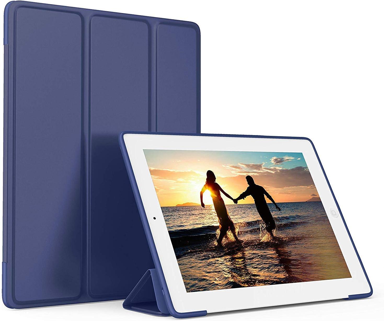 iPad 2 Case, iPad 3 Case, iPad 4 Case with Pencil Holder;Ultra Slim Lightweight Smart Case TPU Soft Silicone Stand with Auto Sleep/Wake for iPad2/3/4 (Blue)