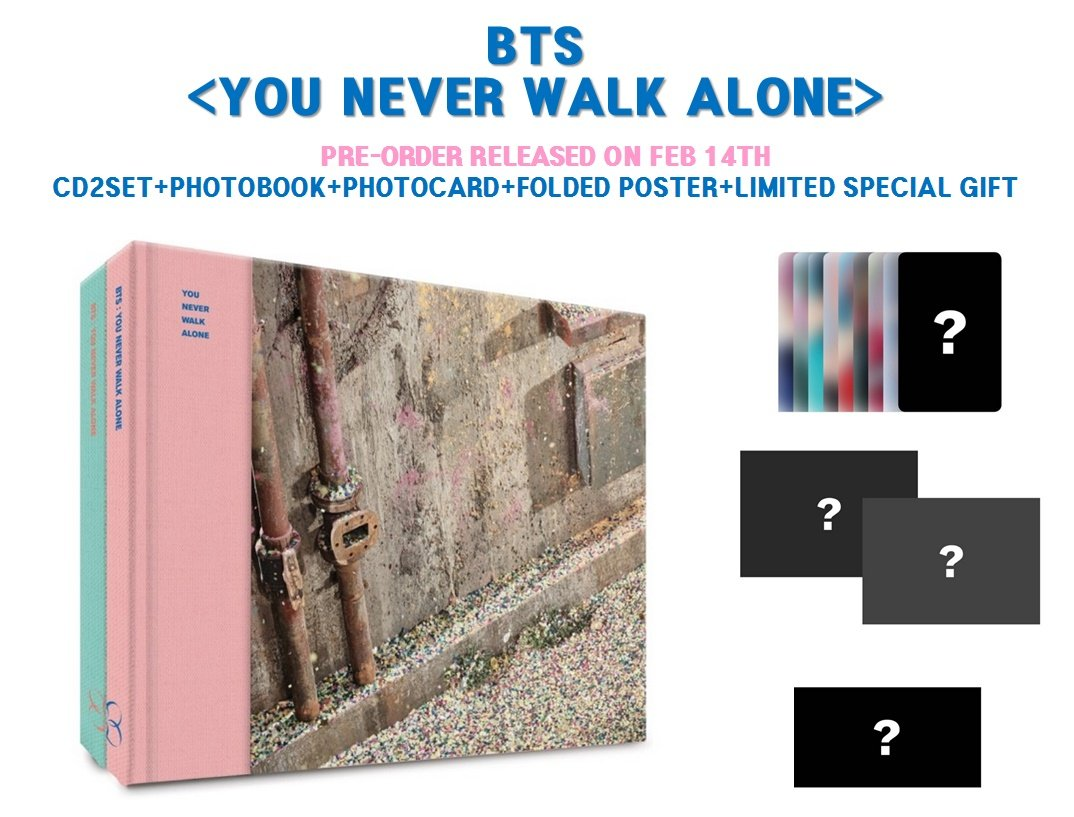 Extra 6 Photocards Set Left+Right Version Set BTS Wings You Never Walk Alone Bangtan Boys Music Album 2 CDs+2 Posters+2 Photobooks+2 Photocards+Gift