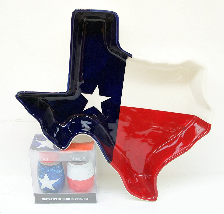 Texas Flag Baking Entertainment Bundle! Hand Painted Flag Shaped Dolomite Baking Pan & Salt & Pepper Shaker Set