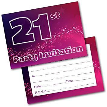 doodlecards 21st birthday party invitations female invites pack of