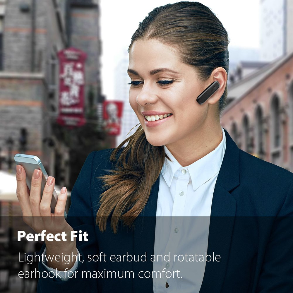 Bluetooth Headset, Wireless Bluetooth Earpiece with 18 Hours Playtime and Noise Cancelling Mic, Ultralight Earphone Hands-Free for iPhone iPad Tablet Samsung Android Cell Phone Calls by Marnana (Image #5)