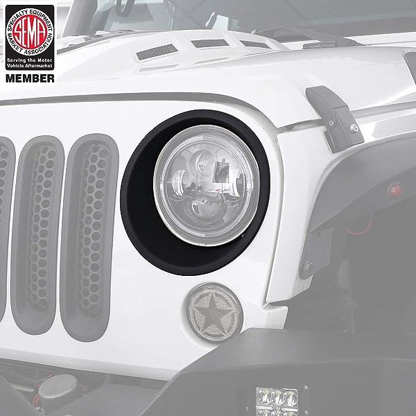 Matte Black Clip-in Deflector Guard for 2007-2015 Jeep Wrangler JK /& Unlimited Hooke Road 7PCS Front Grill Mesh Inserts