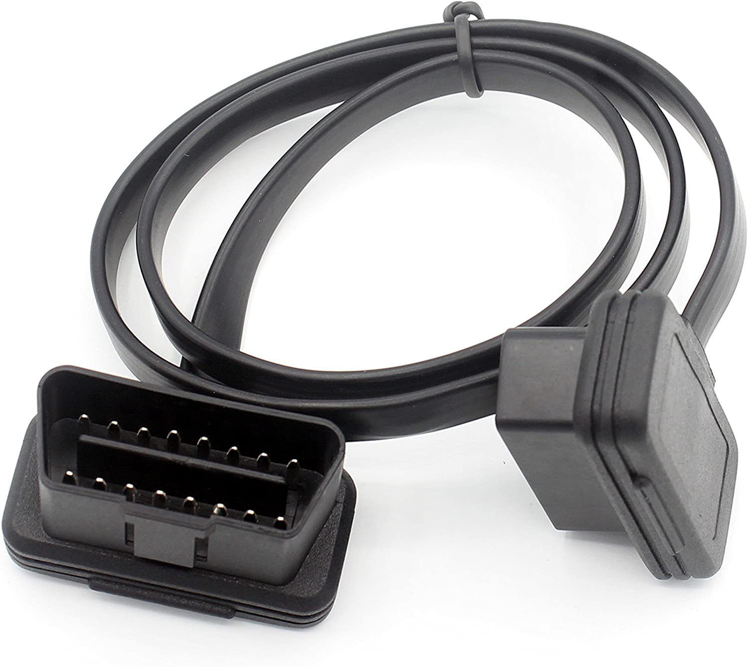 Right Angle Low Profile Diagnostic Cord with Power Switch to Avoid Battery Drain for All OBD2 Car Device LoongGate OBD II Extension Cable Male to Female 16 Pin Pass Through 60cm