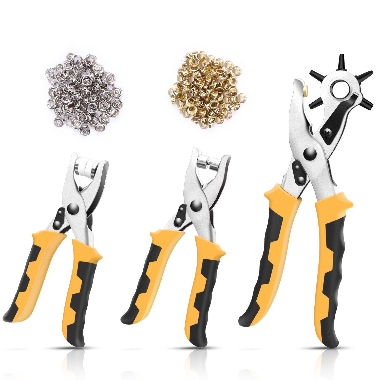 LOETAD Pince Perforatrice Pince Cuir Pince à Trou Lot de 3 Multi-Fonction pour Trous de Ceinture en Cuir Bracelet de Montre Papier Karton avec Poignée Antidérapante-2,5mm, 3mm, 3,5mm, 4mm, 4,5mm, 5mm