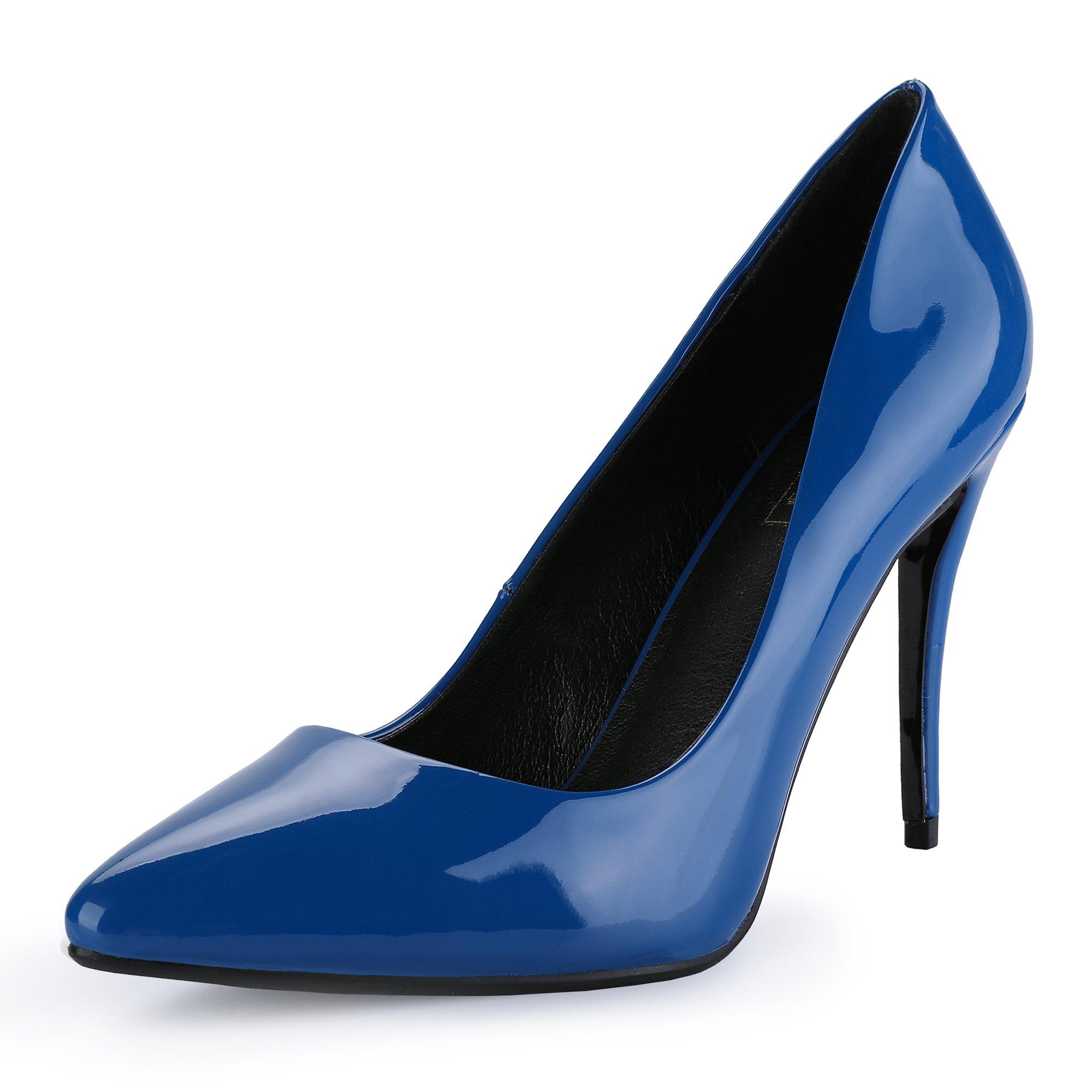 IDIFU Women's IN4 Classic Pointed Toe Stiletto High Heel Dress Pump (8.5 B(M) US, Blue Patent)